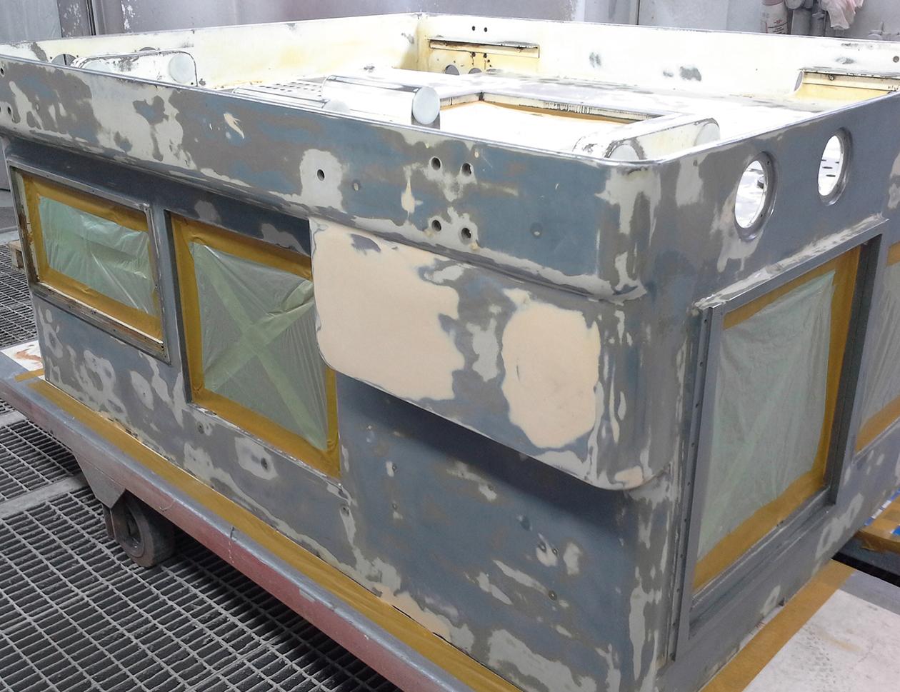 maschinengestell - vorbereitung - spritzbox - individuell - industrielack